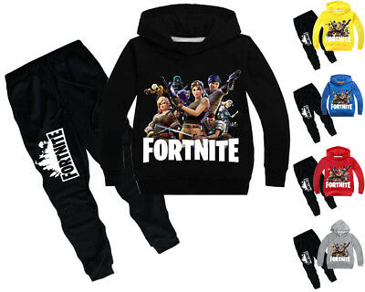 2Pcs Fortnite Sweater Children's Boys Girls Hooded Sportswear Bottoms Age 6-12