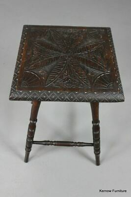Carved Square Occasional Side End Lamp Bedside Table