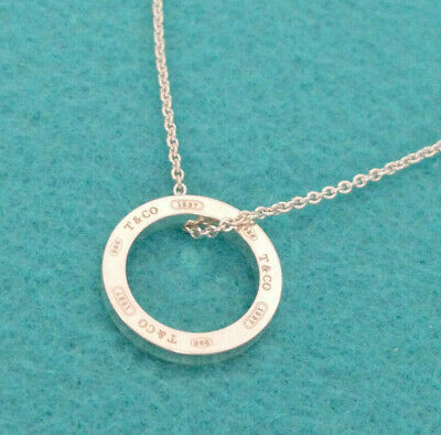 """Tiffany & Co. 1837 Circle Ring Round Pendant Necklace, 20"""" chain Sterling Silver"""