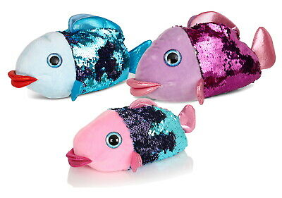 Womens Girls Matching Sequin Fish Slippers Ladies Kids Novelty Animal Booties
