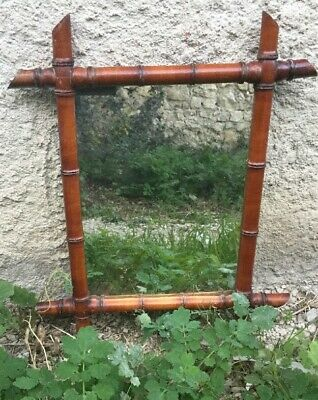Antique French Mirror Faux Bamboo Carved Large Wall Frame Glass Wood 1880s