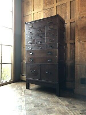 Antique Card Catalog, Stackable Oak Card File, Apothecary Wood Flat File Cabinet