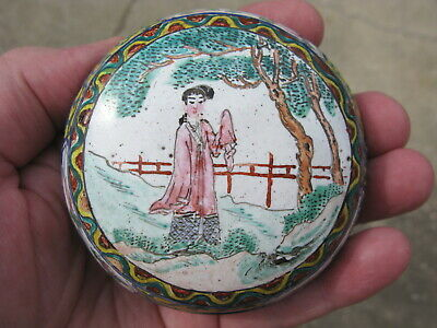 Antique Canton enameled round cosmetic box on metal China 19thC white 3in #9986
