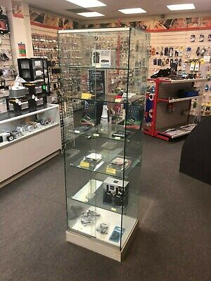 High Quality Tall Retail Shop All Glass Floor Standing Display Cabinet 6 Shelves