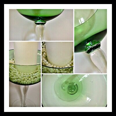 Vintage Large Oversized Green Wine, Brandy Gin Glass Stem Glass Or Dec Candle