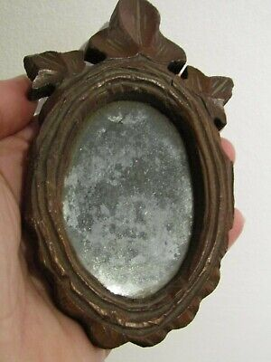"""Antique Black Forest Wooden Carved Distressed Mirror - Miniature 5"""" x 3"""""""