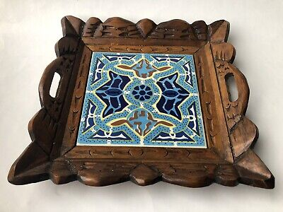Vintage Painted Tile Set In Wooden Carved Tray