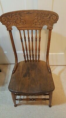 Four Antique Oak Pressed Back Chairs (circa 1890 to 1910), good condition