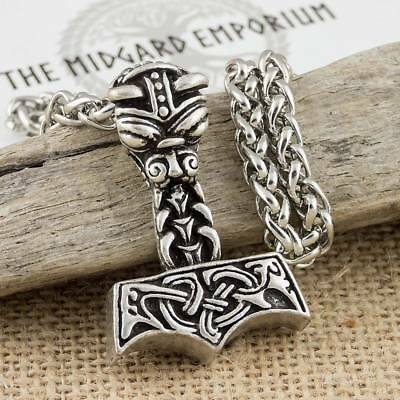 Viking Norse Dragon Thors Hammer Silver Colour Pendant With Wheat Chain Necklace