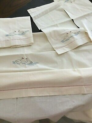 Vintage Embroidered Baby Crib Flat Sheet and 2 Pillow Bolsters - 1 - Towel