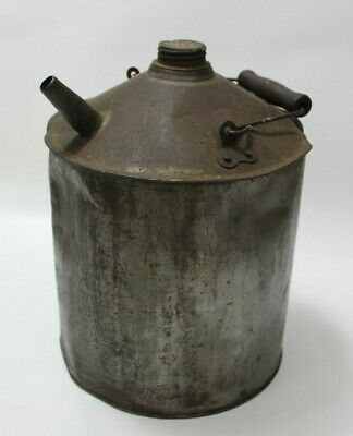 Vintage Wood & Wire Handle & Spout Metal Gas Oil Can 1 Gallon Galvanized Steel