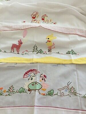 Vintage Embroidered Baby Crib Flat Sheets - Set of 3