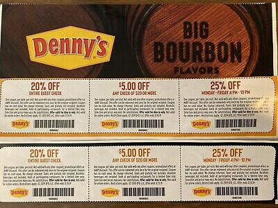 Six Denny's Fast Food Restaurant Coupons $5 Off + 25% Expires 12/15/19