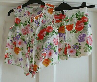 Girls Age 9 yrs White Floral Print Summer Set Sleeveless Top & Shorts Outfit ~Tu