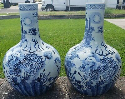 Pair of Late 19th Century Chinese Jingdezhen Porcelain Two Dragons Bottle Vases