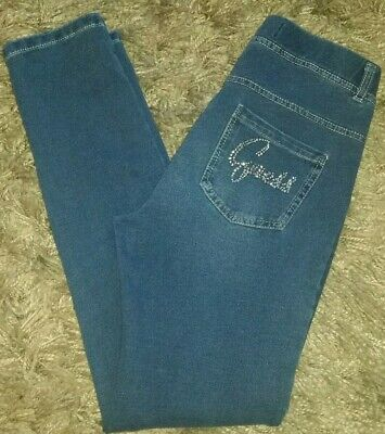 CUTE Guess Denim Blue Leggings Stretch Pants w/ Rhinestone Bling Girls Sz 14