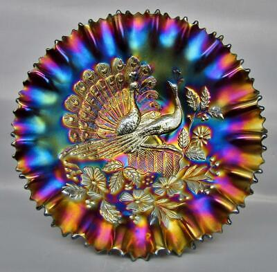"Northwood PEACOCKS Dazzling Amethyst Carnival Glass Pie Crust Edge 9"" Bowl 7351"