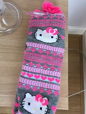 Girls M&S Hello Kitty Slipper Socks Size 8.5-12 Age 3-6 Years.bnwt. Gift Idea