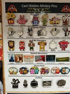 2019 Hidden Mickey Pin Sets Wave A , B ,& C Complete.