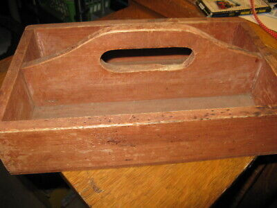 Vintage Rustic Primitive Wooden Farmhouse Tool Caddy Tote Box Carrier Tray