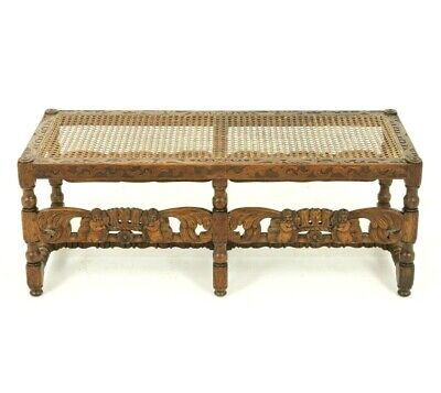 Antique Carved Bench, Footstool, Window Seat, Heavily Carved,W & J Sloane, B1609