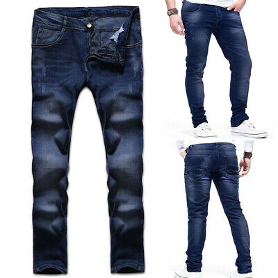 Mens Slim Fit Stretch Jeans Comfy Skinny Super Flex Blue Denim Pants Trousers