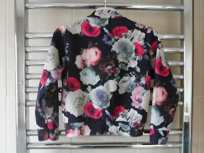 Girls Floral Jacket age 5 years Pink/Blue/Grey - light weight polyester Bomber