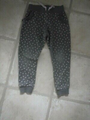 Girls Joggers age 3-4 years Grey with Pink Hearts + 2 side pockets