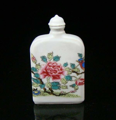 Collectible 100% Handmade Painting Porcelain Snuff Bottle Flower and bird 14