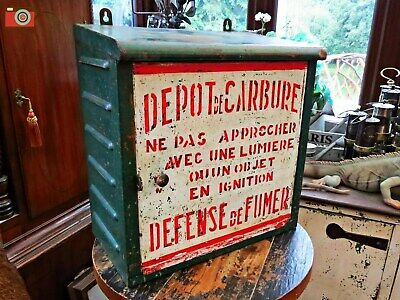 Ultra Rare French Carbide Mining Lamp Cabinet. Great Decorators Piece.