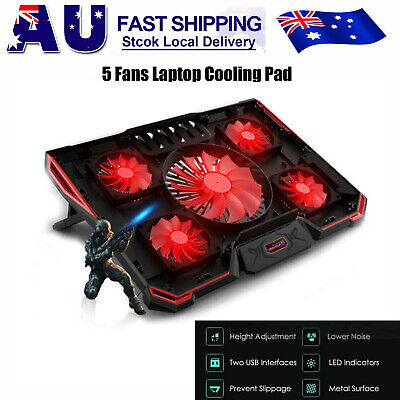 12-17 Inch Adjustable Height Laptop Notebook Cooling Pad 5 Fans LED LOL