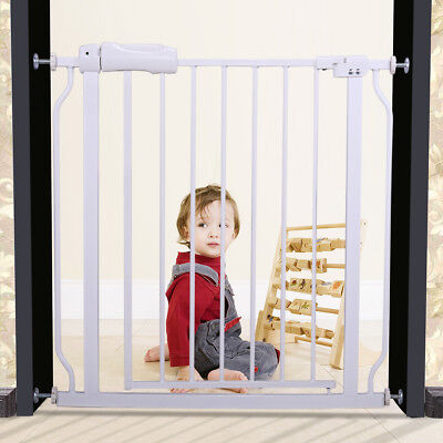 Baby Safety Gate Fence Extra Wide Walk Through Bay Security Door Infant White