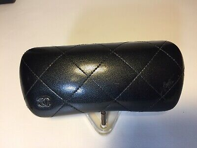 CHANEL Hard Shell Glasses Black Quilted Case Leather with Logo