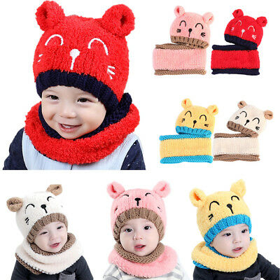 Baby Toddler Kid Boy Girl Winter Knitted Lovely Soft Hooded Scarves Hat Crotchet