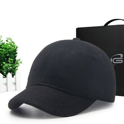 Winter Warm Cap Wool Baseball Caps Outdoor Casual Peaked Cap Black Hats 56-59cm