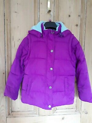 Boden Girls Fushia Pink Padded Jacket with removable sleeves & hood  Age 7 to 8