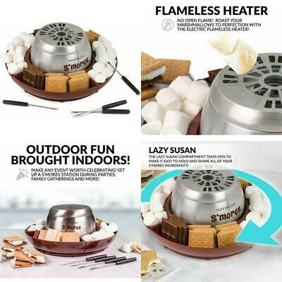 Electric S'mores Maker w Lazy Susan Tray Flameless Heater Indoor Stainless Steel