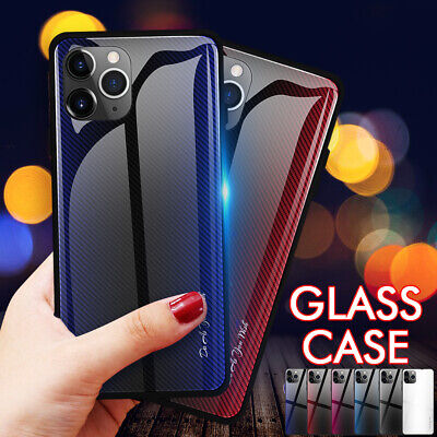 For iPhone 11 Pro XR XS MAX 7 8 Plus Tempered Glass Case Hybrid Rubber Bumper