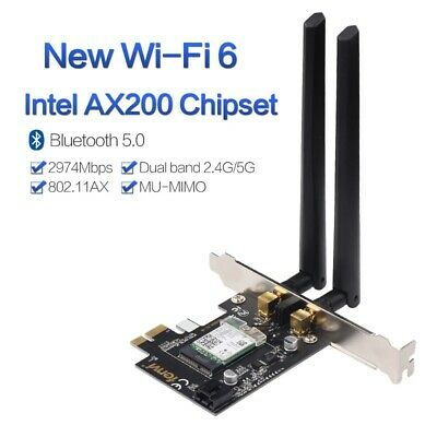 Intel AX200 PCI-E Card Wireless 2400Mbps 2.4Ghz/5Ghz Bluetooth 5.0 Wifi Adapter