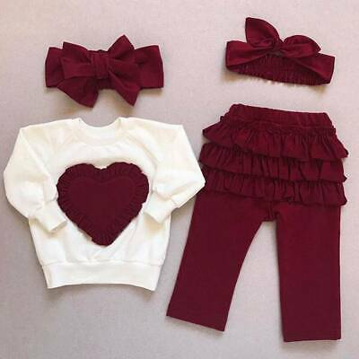3Pcs Toddler Kids Baby Girl Infant Outfits Love Tops Pants Tracksuit Clothes Set