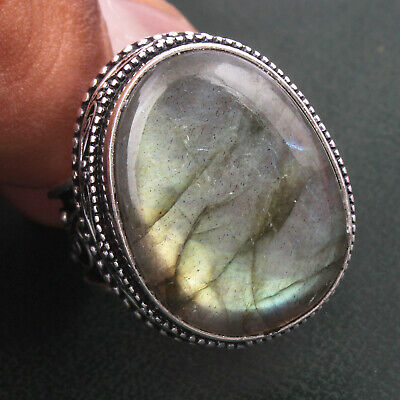 Egg Shape Real Fire Labradorite Oxidized Silver Plated Fine Ring Jewelry 7.5 US