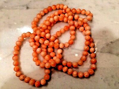 """Beautiful Vintage Chinese Natural Coral Necklace 32""""L"""