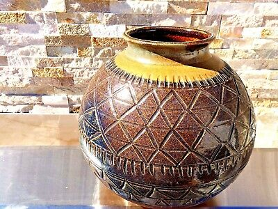 Antique Asian Japanese? Hand Made Huge Pottery Vase Signed