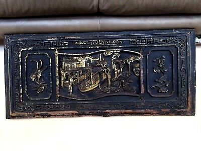 "ANTIQUE 17-18 CENTURY  CHINESE HUGE 44.25""L x 19.5""W HAND CARVED WOOD PLAQUE #2"