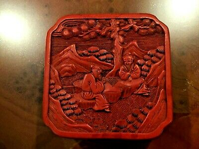Antique Chinese Hand Lucker Carved Cinnabar Jewelry Box