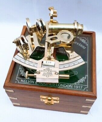 Beautiful Modern Brass Sextant With Wooden Box 10 Cm New