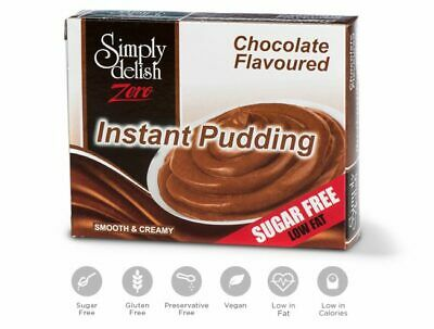 Simply Delish Chocolate Instant Pudding Mix Sugar Free Dessert (Pack of 24)