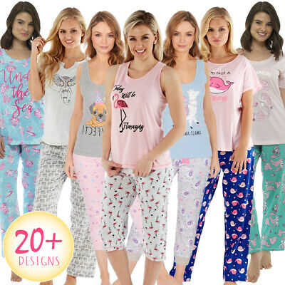 Ladies Pyjamas Pyjama Set Bottoms Girls New Short Sleeve Cotton Long Or Cropped