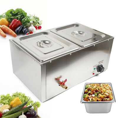 2-Pan Food Warmer Steam Table Steamer 2 Pots Large Capacity Portable 850W 110V