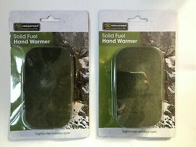 2 x Highlander Solid Fuel Hand Warmer Refillable Carbon